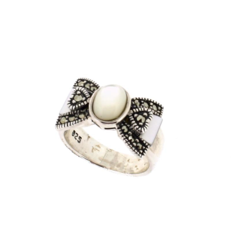 Mother of Pearl Marcasite Ring - Vintage Style Jewellery by Chicago Marcasite Jewellery