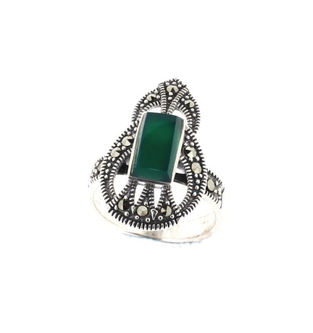Art Deco Style Green Agate Ring - Chicago Marcasite Jewellery