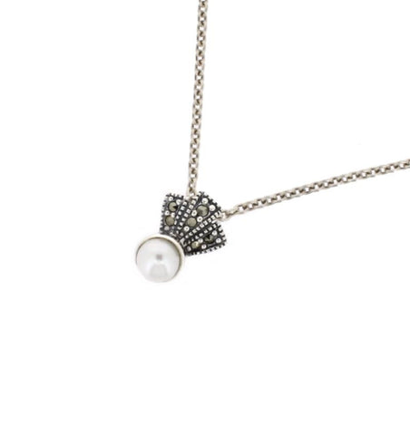 Freshwater Pearl Marcasite Pendant - Chicago Marcasite Jewellery