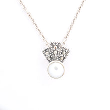 Load image into Gallery viewer, Freshwater Pearl Marcasite Pendant - Vintage Style Jewellery by Chicago Marcasite Jewellery