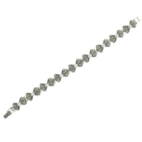Freshwater Pearl Marcasite Bracelet - Chicago Marcasite Jewellery