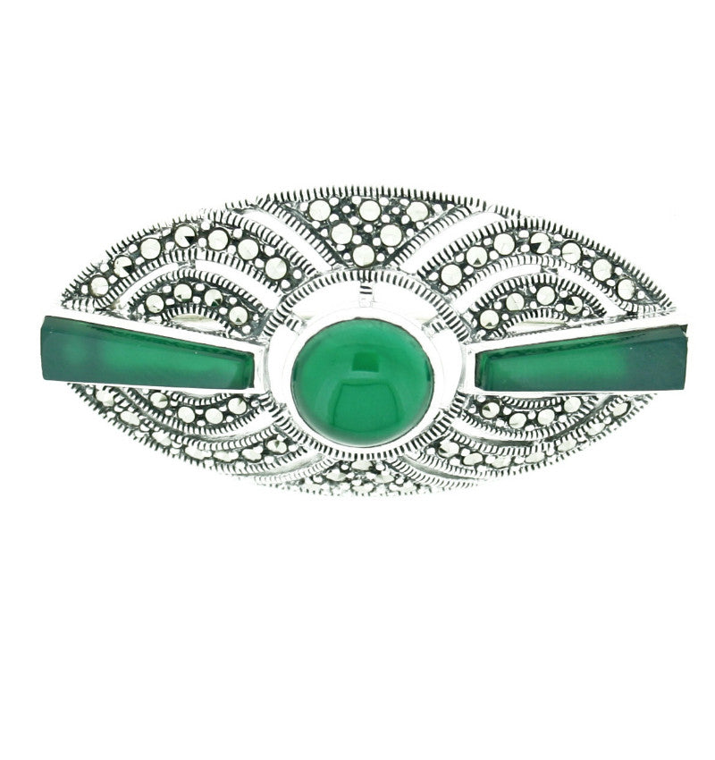 Green Agate & Marcasite Brooch - Vintage Style Jewellery by Chicago Marcasite Jewellery