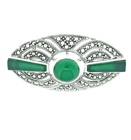 Green Agate & Marcasite Brooch - Chicago Marcasite Jewellery