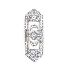 Load image into Gallery viewer, Mother of Pearl Marcasite Brooch - Vintage Style Jewellery by Chicago Marcasite Jewellery