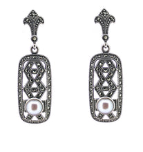 Load image into Gallery viewer, Freshwater Pearl Marcasite Earrings - Vintage Style Jewellery by Chicago Marcasite Jewellery
