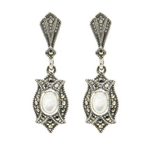 Load image into Gallery viewer, Mother of Pearl Marcasite Drop Earrings - Vintage Style Jewellery by Chicago Marcasite Jewellery