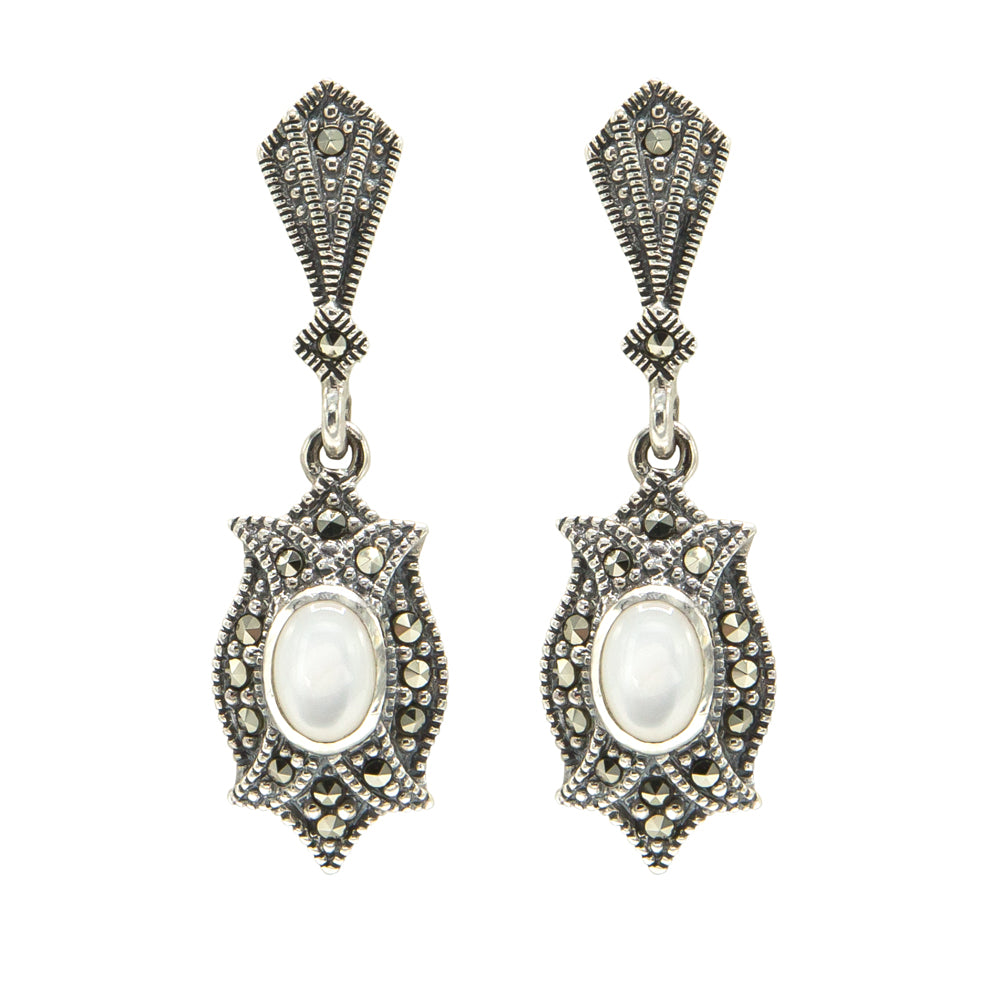 Mother of Pearl Marcasite Drop Earrings - Vintage Style Jewellery by Chicago Marcasite Jewellery