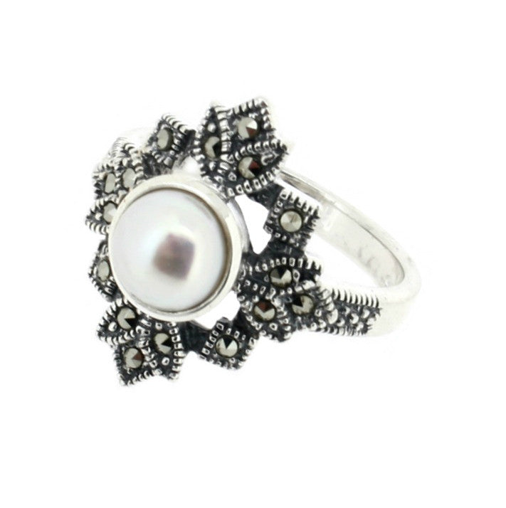 Freshwater Pearl Marcasite Ring - Vintage Style Jewellery by Chicago Marcasite Jewellery