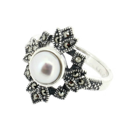 Freshwater Pearl Marcasite Ring - Chicago Marcasite Jewellery