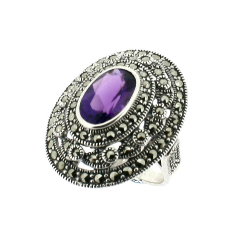 Amethyst Marcasite Ring - Vintage Style Jewellery by Chicago Marcasite Jewellery