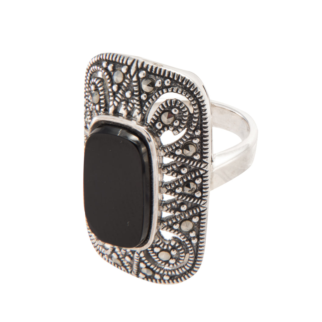 Black Onyx Marcasite Ring - Vintage Style Jewellery by Chicago Marcasite Jewellery