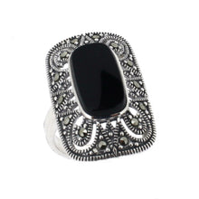 Load image into Gallery viewer, Black Onyx Marcasite Ring - Vintage Style Jewellery by Chicago Marcasite Jewellery