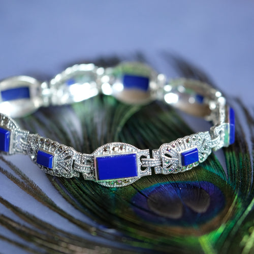 Lapis Marcasite Bracelet - Vintage Style Jewellery by Chicago Marcasite Jewellery