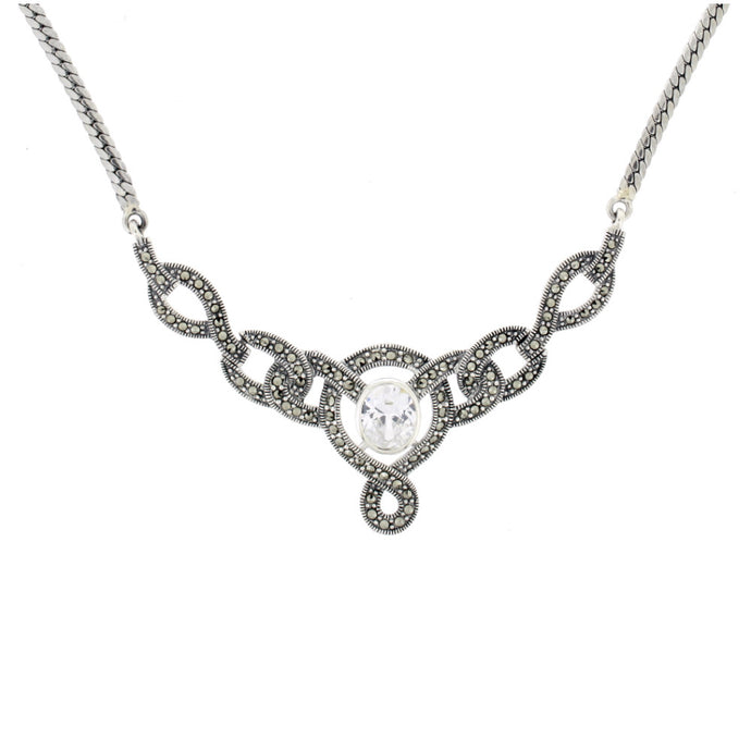 Ornate Vintage Style Cubic Zirconia Marcasite Necklace by Chicago Marcasite Jewellery