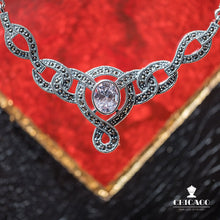 Load image into Gallery viewer, Cubic Zirconia Marcasite Necklace - Vintage Style Jewellery by Chicago Marcasite Jewellery