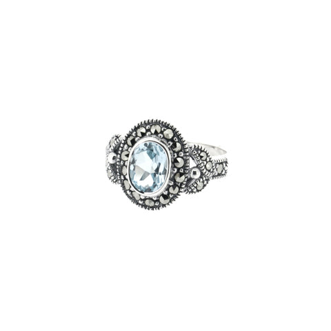 AB224 Silver Marcasite Blue Topaz Ring