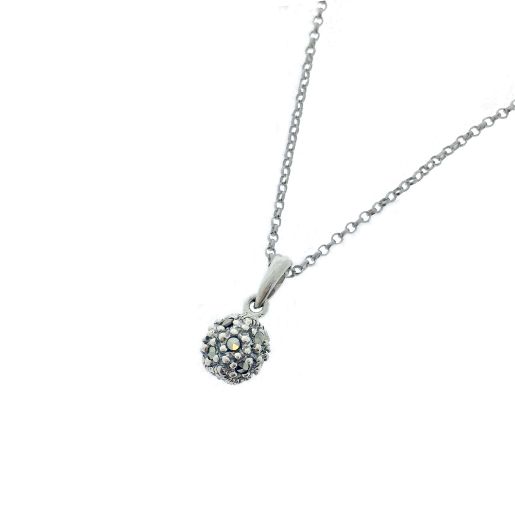 Silver Ball Pendant - Vintage Style Jewellery by Chicago Marcasite Jewellery