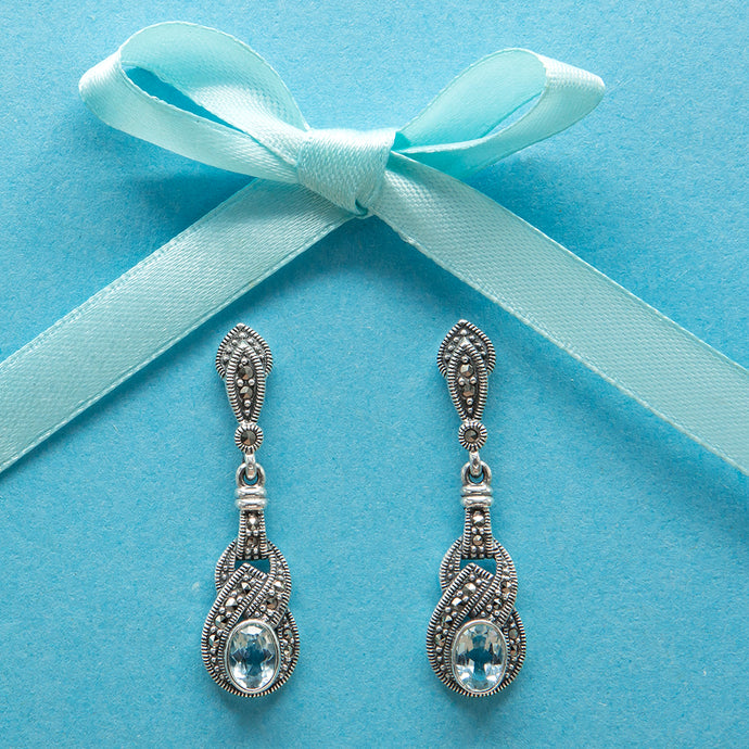 Blue Topaz Marcasite Drop Earrings - Vintage Style Jewellery by Chicago Marcasite Jewellery
