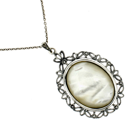 Mother of Pearl Marcasite Necklace - Chicago Marcasite Jewellery