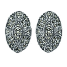 Load image into Gallery viewer, Oval Marcasite Stud Earrings - Vintage Style Jewellery by Chicago Marcasite Jewellery
