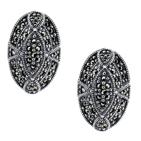 Oval Marcasite Stud Earrings - Chicago Marcasite Jewellery