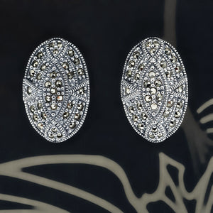 Oval Marcasite Stud Earrings - Vintage Style Jewellery by Chicago Marcasite Jewellery