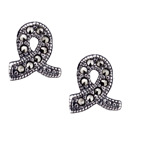 Marcasite Ribbon Stud Earrings - Vintage Style Jewellery by Chicago Marcasite Jewellery