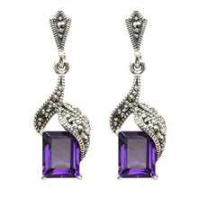 Load image into Gallery viewer, Amethyst Drop Earrings - Vintage Style Jewellery by Chicago Marcasite Jewellery