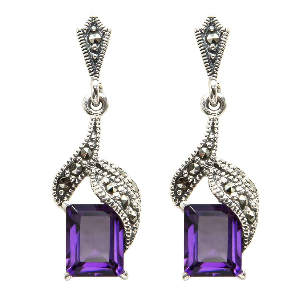Amethyst Drop Earrings - Vintage Style Jewellery by Chicago Marcasite Jewellery