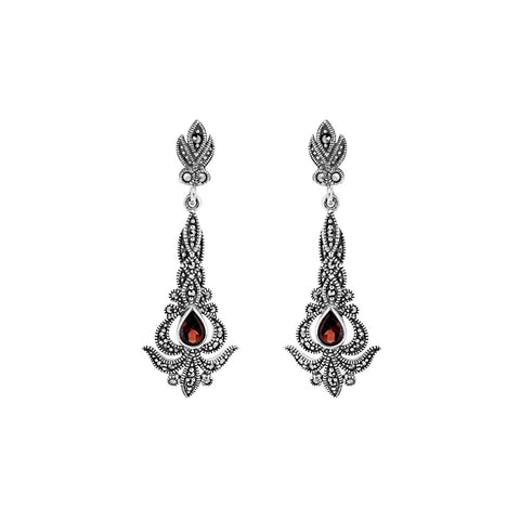 Garnet Marcasite Drop Earrings - Chicago Marcasite Jewellery