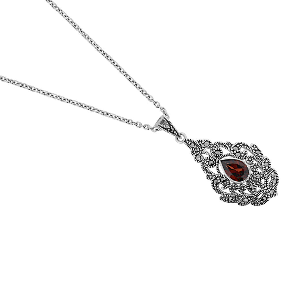Garnet Marcasite Necklace - Vintage Style Jewellery by Chicago Marcasite Jewellery