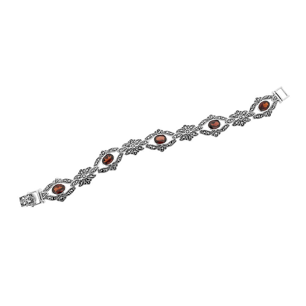 Red Garnet Marcasite Bracelet - Vintage Style Jewellery by Chicago Marcasite Jewellery