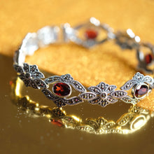 Load image into Gallery viewer, Red Garnet Marcasite Bracelet