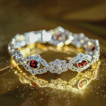 Load image into Gallery viewer, Red Garnet Marcasite Bracelet - Vintage Style Jewellery by Chicago Marcasite Jewellery