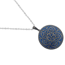 Load image into Gallery viewer, Blue Enamel Marcasite Necklace - Vintage Style Jewellery by Chicago Marcasite Jewellery