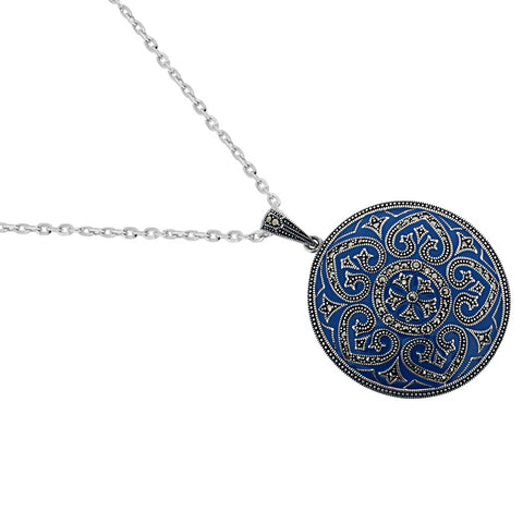 Blue Enamel Marcasite Necklace - Chicago Marcasite Jewellery