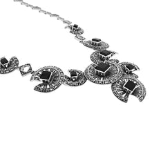 Load image into Gallery viewer, Black Onyx Marcasite Necklace - Vintage Style Jewellery by Chicago Marcasite Jewellery