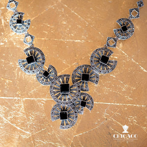 Black Onyx Marcasite Necklace - Vintage Style Jewellery by Chicago Marcasite Jewellery