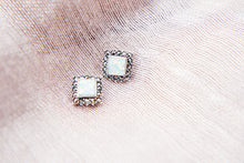 Load image into Gallery viewer, Opalite Marcasite Earrings - Vintage Style Jewellery by Chicago Marcasite Jewellery