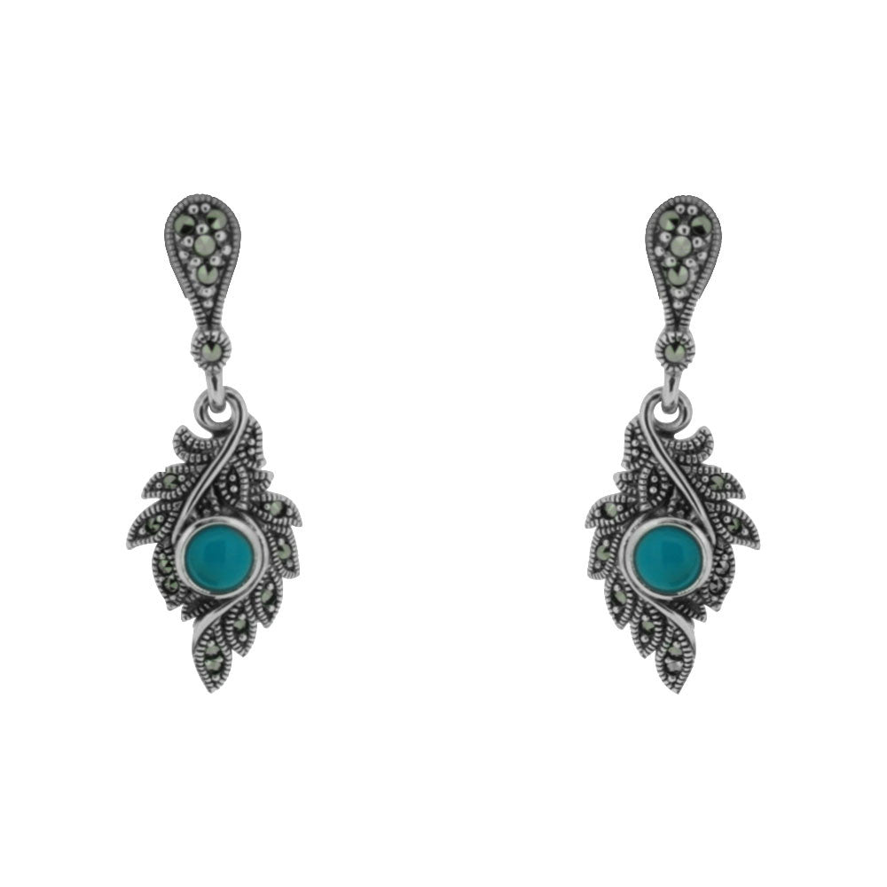Turquoise Earrings - Vintage Style Jewellery by Chicago Marcasite Jewellery