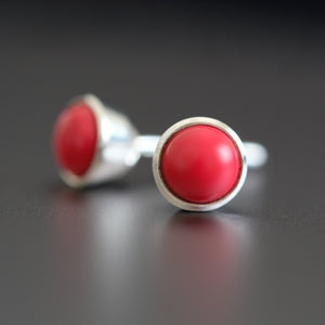 Coral Stud Earring - Vintage Style Jewellery by Chicago Marcasite Jewellery