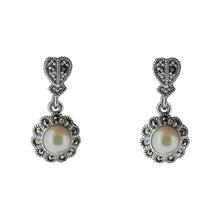 Load image into Gallery viewer, Marcasite Floral Pearl Drop Earring - Vintage Style Jewellery by Chicago Marcasite Jewellery