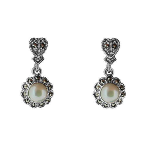 Marcasite Floral Pearl Drop Earring - Vintage Style Jewellery by Chicago Marcasite Jewellery