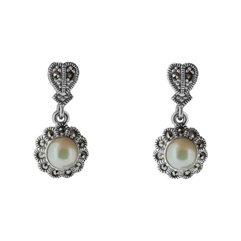 Marcasite Floral Pearl Drop Earring - Chicago Marcasite Jewellery