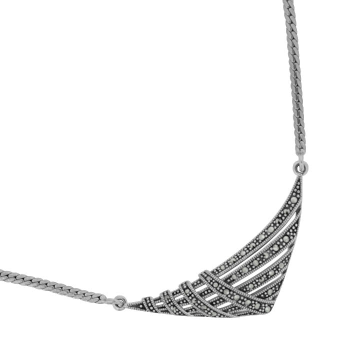 Deco Style Marcasite Necklace - Vintage Style Jewellery by Chicago Marcasite Jewellery