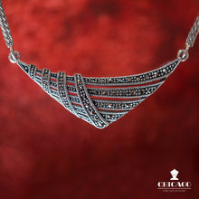 Load image into Gallery viewer, Deco Style Marcasite Necklace - Vintage Style Jewellery by Chicago Marcasite Jewellery