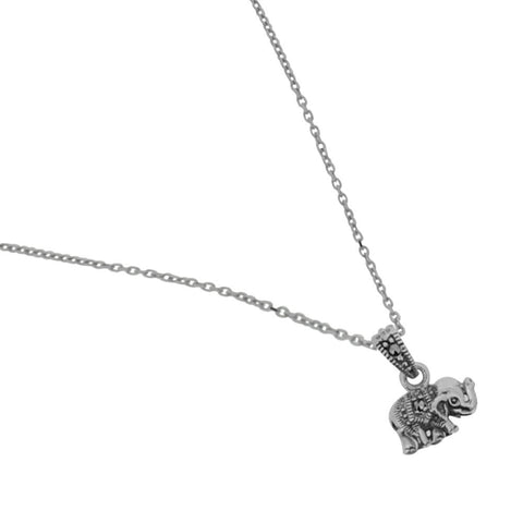 AB270 Silver Elephant Marcasite Necklace