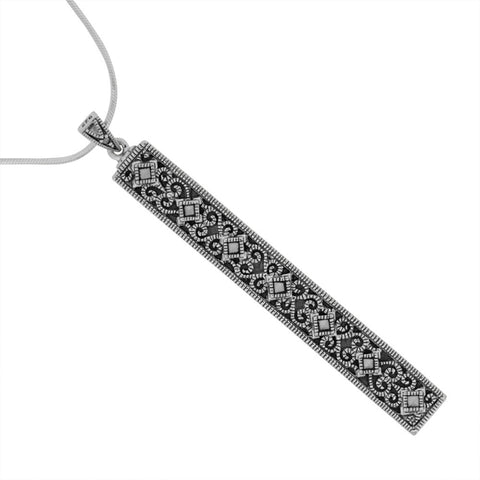 Drop Bar Marcasite Pendant - Chicago Marcasite Jewellery