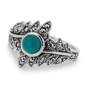 Marcasite Turquoise Leaf Ring - Vintage Style Jewellery by Chicago Marcasite Jewellery