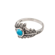 Load image into Gallery viewer, Marcasite Turquoise Leaf Ring - Vintage Style Jewellery by Chicago Marcasite Jewellery